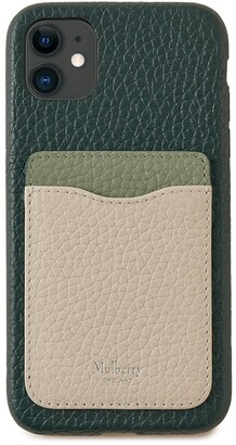 Mulberry iPhone 11 Case With Credit Card Slip Green, Cambridge Green and Chalk Heavy Grain