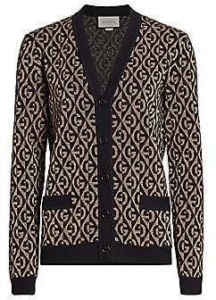 Gucci Women's G-Rhombus Metallic Logo Wool Jacquard Cardigan