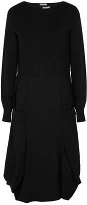 Crea Concept Black Wool-blend Top And Cady Midi Dress