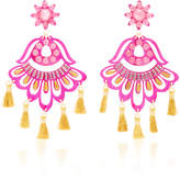 Mercedes Salazar Fiesta Pink and Gold-Tone Drop Tassel Earrings