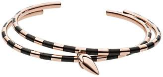 Emporio Armani Rose Gold Plated Sterling Silver and Black Enamel Spearhead Pendant Ladies Bracelet