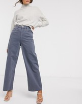 Asos Design DESIGN High rise 'relaxed' dad jeans in pebble gray