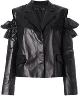 Drome slit shoulders leather jacket - women - Lamb Skin/Acetate/Cupro - S