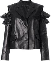Drome slit shoulders leather jacket