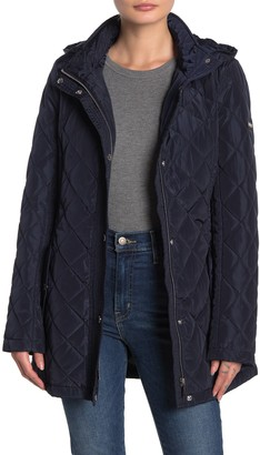 DKNY Quilted Tie Waist Hooded Jacket