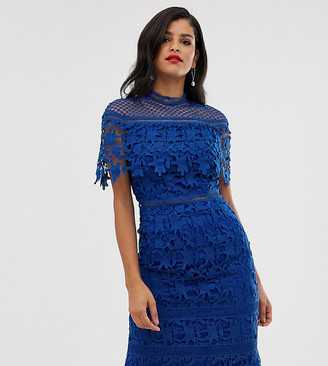 Chi Chi London Tall lace high neck mini dress in cobalt-Blue