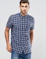 Abercrombie & Fitch Linen Shirt Blue Plaid In Slim Muscle Fit