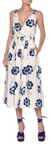 Agnona Poppy-Print Sleeveless V-Neck Midi Dress, Navy/White