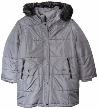 INTL d.e.t.a.i.l.s Women's Thigh-Length Puffer Jacket with Sweatshirt Bib