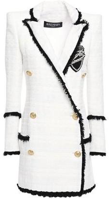 Balmain Double-breasted Embellished Tweed Blazer