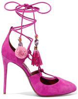 Dolce & Gabbana Embellished Lace-up Suede Pumps - Fuchsia