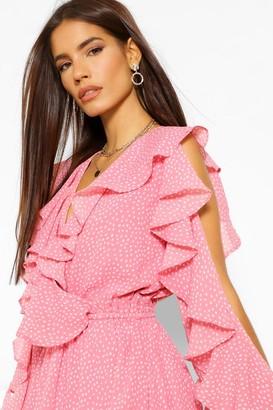 boohoo Spot Print Ruffle Wrap Skater Dress
