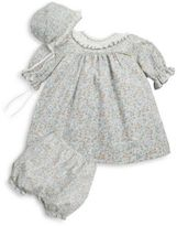 Luli and Me Baby's Three-Piece Cotton Beanie, Smock Dress and Shorts Set