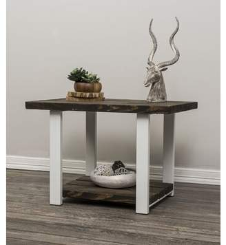Ashanti Rustic Mod Trestle End Table with Storage Gracie Oaks