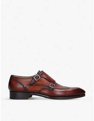 Magnanni Burnished leather monk strap shoes
