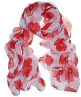 Tonsee 1PC Flower Red Poppy Print Long Scarf Beach Wrap Ladies Stole Shawl