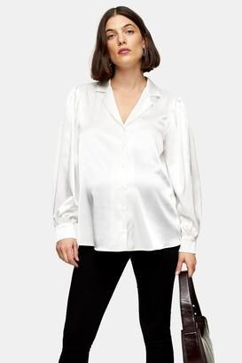 Topshop Womens **Maternity Ivory Satin Shirt - Ivory