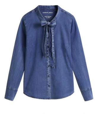 The Voewood - Pussybow Denim Blouse - 36 - Blue
