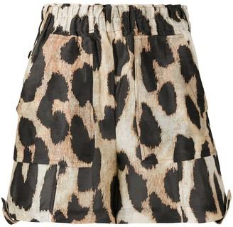 Ganni Leopard Print Shorts