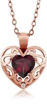 Gem Stone King 0.73 Ct Heart Shape Red Rhodolite Garnet Sapphire Gold Plated Silver Pendant