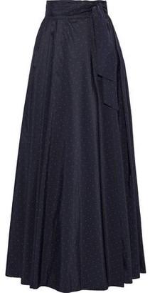 Max Mara Scire Belted Polka-dot Taffeta Maxi Wrap Skirt