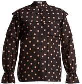 Vilshenko Orsha peony-print cotton and silk-blend blouse