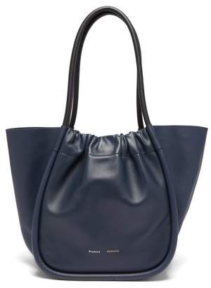 Proenza Schouler Ruched L Leather Tote Bag - Womens - Navy