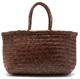 DRAGON DIFFUSION Triple Jump Medium Woven-leather Basket Bag - Dark Brown