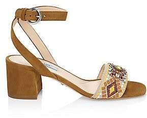 Prada Women's Embellished Embroidered Block-Heel Leather Sandals