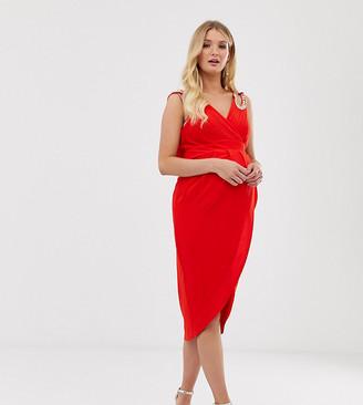 TFNC Maternity wrap midi dress in red