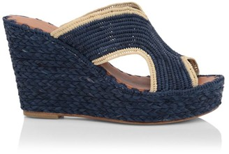 Carrie Forbes Naturel Raffia Platform Wedges