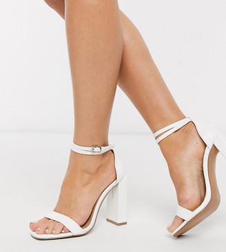 ASOS DESIGN Wide Fit Notice barely there heeled sandals in white