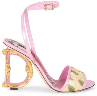 Dolce & Gabbana Sculpted-Heel Raffia & Leather Sandals