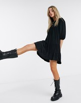 Bershka crinkle tiered smock dress in black