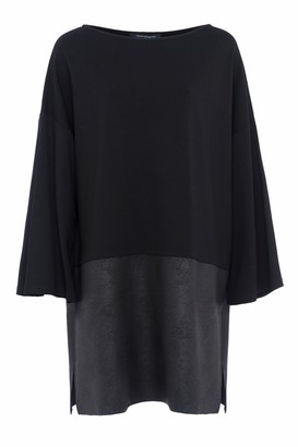 French Connection Inez Jersey 3/4 Sleeves Slash Neck Tunic Dress