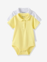 Vertbaudet Baby Girls Pack of 2 Short-Sleeved Bodysuits with Peter Pan Collar