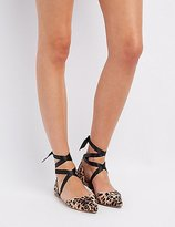 Charlotte Russe Leopard Ankle-Tie D'Orsay Flats