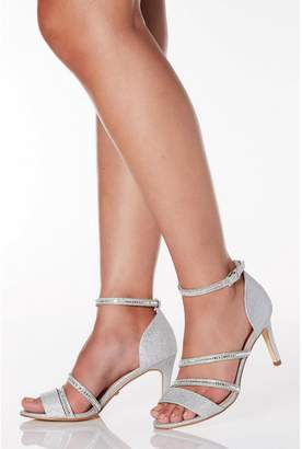 Quiz Wide Fit Silver Shimmer Diamante Strap Heel Sandals