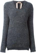 No.21 ribbed V-neck jumper - women - Silk/Polyamide/Wool - 42