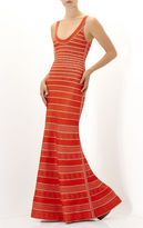Herve Leger Filipa Multi Chevron Textured Tipping Gown