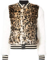 Mother leopard print faux fur bomber jacket