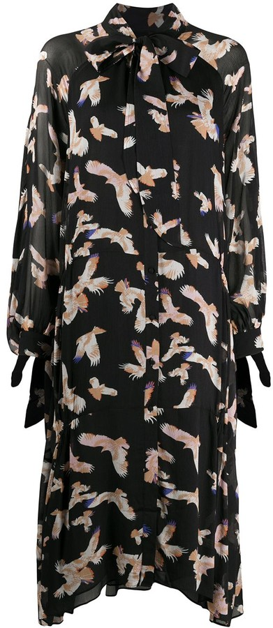 Lala Berlin Long Sheer Sleeve Falcon Print Dress