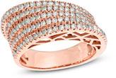 Zales 1 CT. T.W. Diamond Slanted Multi-Row Band in 10K Rose Gold