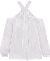 MICHAEL Michael Kors Cold-shoulder Striped Silk Crepe De Chine Blouse - White