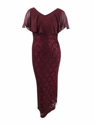 Connected Apparel Womens Burgundy Sequined Lace Slitted Short Sleeve V Neck Maxi Sheath Formal Dress Plus US Size: 20W