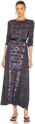 Raquel Allegra Half Sleeve Drama Tie Dye Maxi Dress in Night Orchid   FWRD