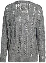 Brunello Cucinelli Paillette Chunky Knit V-Neck Sweater