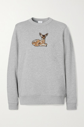 Burberry Appliqued Cotton-jersey Sweatshirt - Gray