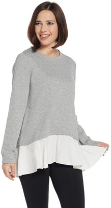 LOGO Lounge by Lori Goldstein Classic French Terry Top w/ Woven Hem