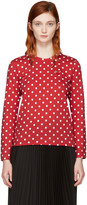 Comme des Garcons Red Long Sleeve Polka Dot Heart Patch T-shirt